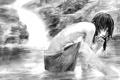 Картинка девушка, рисунок, черно белый, размытость, рисунок карандашом