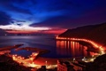 Картинка закат, огни, гора, вечер, залив