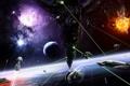 Картинка космос, лучи, взрыв, огонь, битва, звездолеты