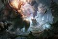 Картинка обломки, скалы, монстр, воин, арт, рога, храм
