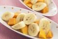 Картинка бананы, кусочки, фрукты, ломтики, дольки, папайя