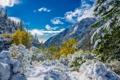 Картинка осень, небо, облака, снег, деревья, горы