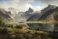 Картинка деревья, пейзаж, горы, река, камни, берег, картина