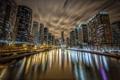 Картинка ночь, отражение, река, chicago, illinois