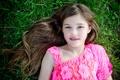 Картинка лето, трава, взгляд, лицо, улыбка, настроение, ребенок