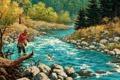 Картинка пейзаж, река, рыба, лес, осень, рыбак, деревья