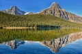 Картинка лес, горы, озеро, отражение, Канада, Альберта, Alberta