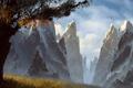 Картинка трава, облака, снег, горы, дерево, вершины, арт