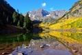 Картинка деревья, горы, озеро