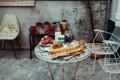 Картинка fruit, milk, table, plants, cups, chairs, breads