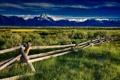 Картинка трава, горы, забор, долина, лужа
