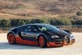 Картинка оранжевый, черный, Bugatti, Veyron, карбон