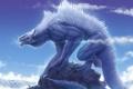 Картинка облака, скала, дракон, олень, арт, гигансткий