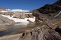Картинка вода, снег, горы, река, камни, скалы