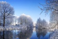 Картинка облака, река, небо, вода, канал, деревья, зима