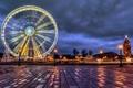 Картинка зима, дорога, свет, город, огни, Франция, Париж
