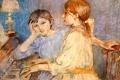 Картинка музыка, лампа, картина, пианино, Berthe Morisot, The Piano