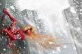 Картинка фантастика, волосы, здания, арт, spider girl, красный костюм, взгляд в сторону
