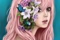 Картинка девушка, цветы, жук, арт, розовые волосы