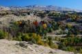 Картинка горы, осень, небо, деревья, дома