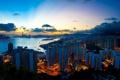 Картинка небо, пейзаж, тучи, город, огни, здания, вечер