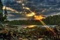 Картинка лес, небо, закат, река, камни, sunset