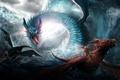 Картинка море, волны, шторм, драконы, войны, арт, всадник