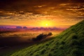 Картинка облака, закат, зеленый холм