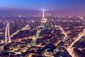 Картинка свет, город, огни, Франция, Париж, башня, дома