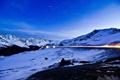Картинка дорога, снег, горы, огни, сумерки