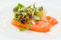 Картинка зелень, рыбка, fish, закуска, лосось, greens, salmon