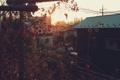 Картинка закат, дома, Природа