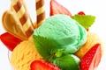 Картинка мята, клубника, sweet, ice cream, сладкое, mint, dessert