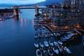 Картинка море, вода, мост, огни, отражение, корабли, яхты