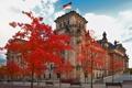 Картинка осень, небо, листья, деревья, Германия, скамья, Берлин