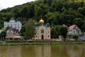 Картинка деревья, река, дома, Германия, холм, церковь, набережная
