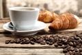 Картинка круассаны, кофе, кофейные зерна