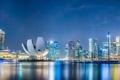 Картинка дизайн, набережная, здания, Сингапур, фонари, ночь, огни