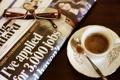 Картинка фото, кофе, очки, ложка, чашка, газета, блюдце