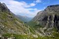 Картинка дорога, горы, скалы, панорама, ущелье, серпантин