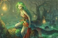 Картинка лес, девушка, огни, пруд, дерево, болото, корона