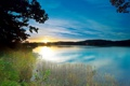 Картинка небо, облака, деревья, пейзаж, закат, природа, озеро