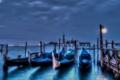 Картинка море, ночь, город, пристань, вечер, Италия, Венеция