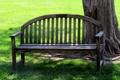Картинка лето, трава, скамейка, дерево, поляна
