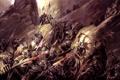 Картинка armor, rocks, army, battle, swords, Dark Elf, enemy