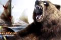 Картинка город, медведь, пасть, Guild Wars, рев, Eye Of The North
