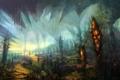 Картинка небо, птицы, рисунок, растения, арт, колонны, причудливость