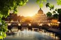 Картинка закат, пейзаж, Italy, река, вода, листья, город