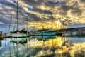 Картинка море, небо, облака, тучи, лодка, корабль, пристань