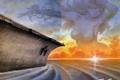 Картинка море, волны, девушка, солнце, облака, закат, рассвет